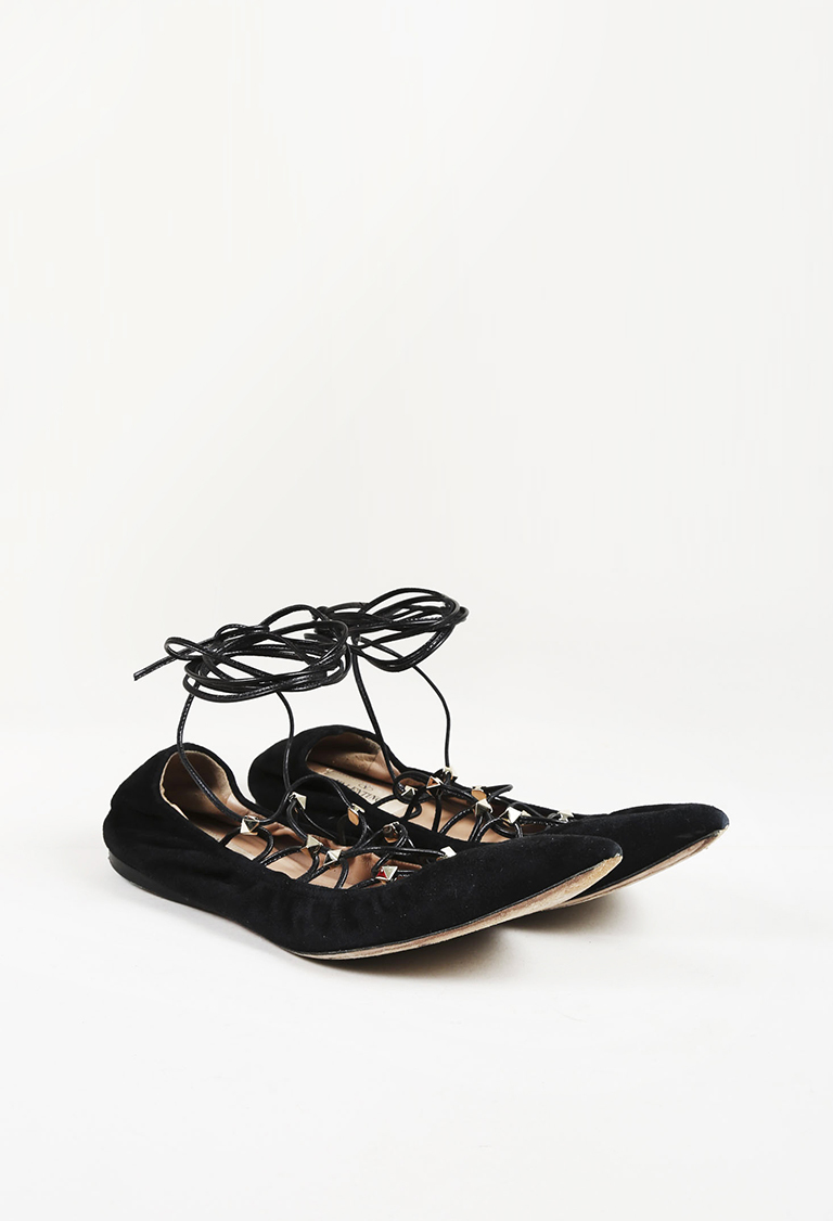 "Garavani Black Suede ""Rockstud"" Lace Up Pointed Toe Flats"
