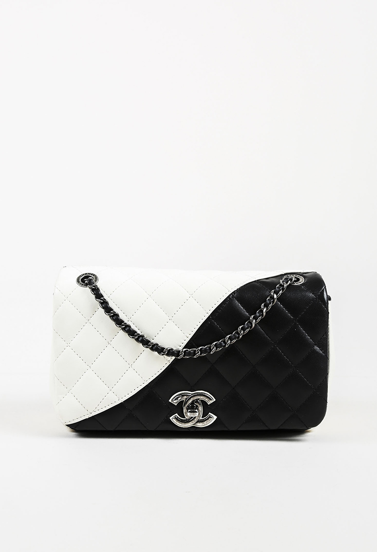 21706a58e580 Black White Quilted Lambskin Leather