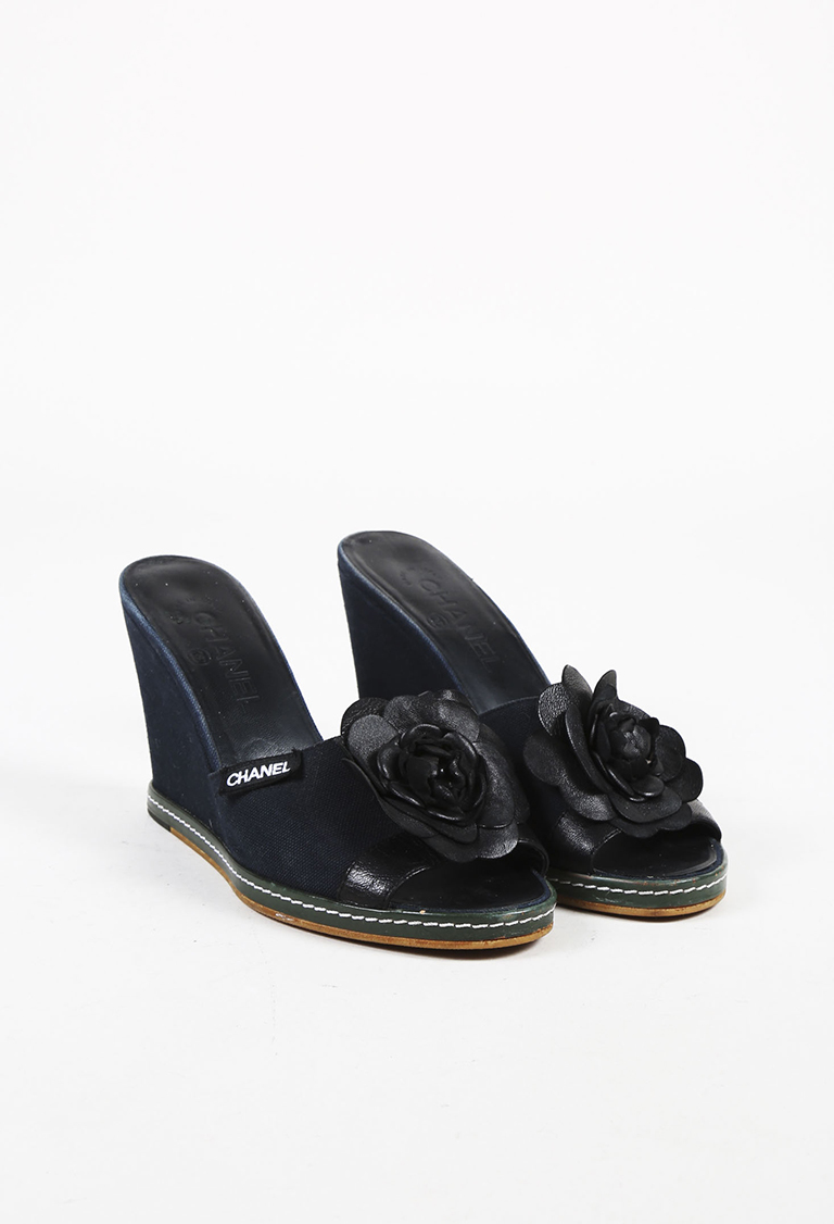 ef3c016bd2 Blue Canvas Black Leather Camellia Wedge Heel Sandals Luxury · Chanel Pearl  ...
