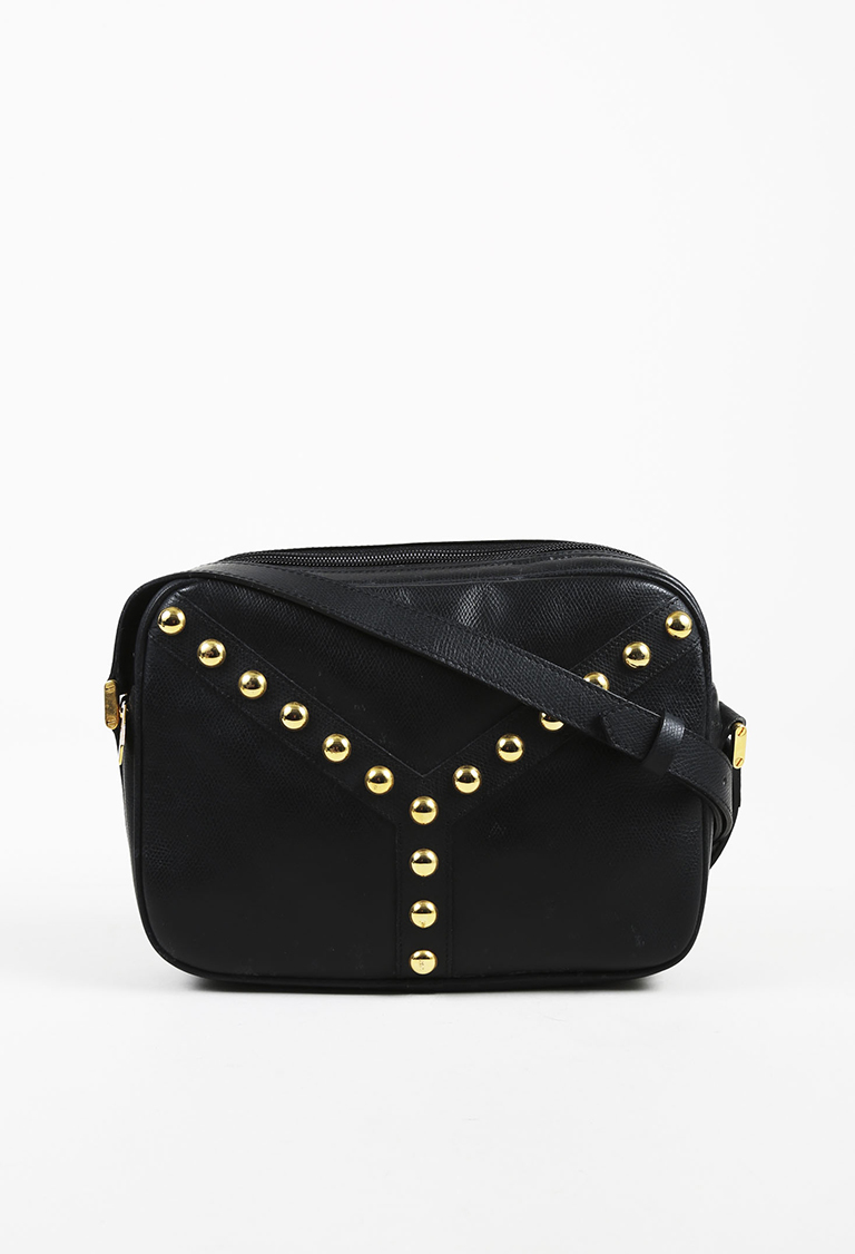 Saint Laurent. VINTAGE Yves Black Leather Gold Tone Studded  Y  Shoulder Bag 88515f61ff74f