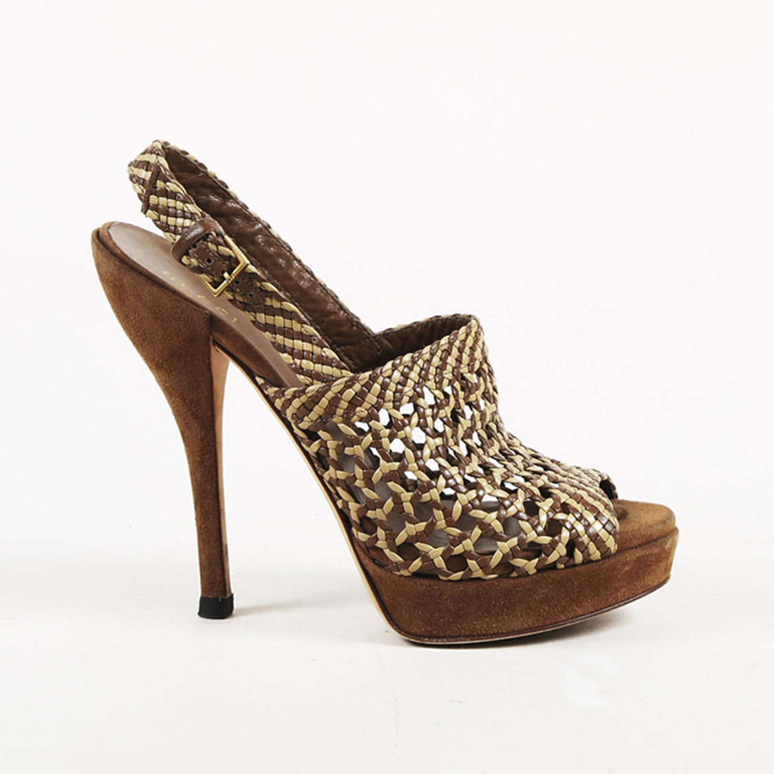 24052ada6846 Details about Gucci Brown   Beige Woven Leather   Suede Slingback Sandals  SZ 36