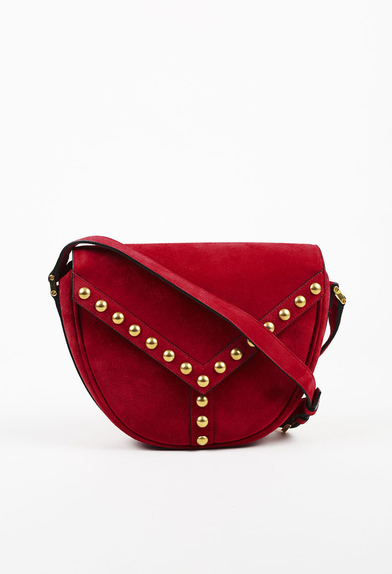 Saint Laurent. Red Suede Y Stud Crossbody Saddle Bag 7c46f962fb303