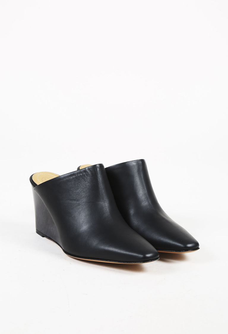 The Row Black Nappa Leather Flora Wedge Mules Luxury Garage Sale