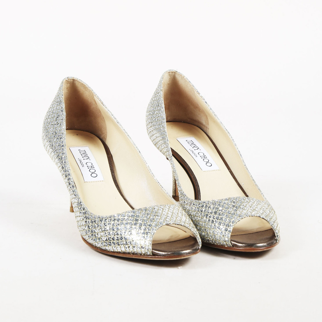 239a0bd3f6d Details about Jimmy Choo Champagne Glittered Leather