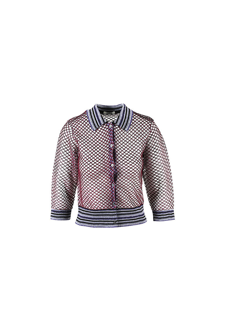 9a3164d49db6 Jourden Multicolor Metallic Fishnet Striped Polo Cardigan