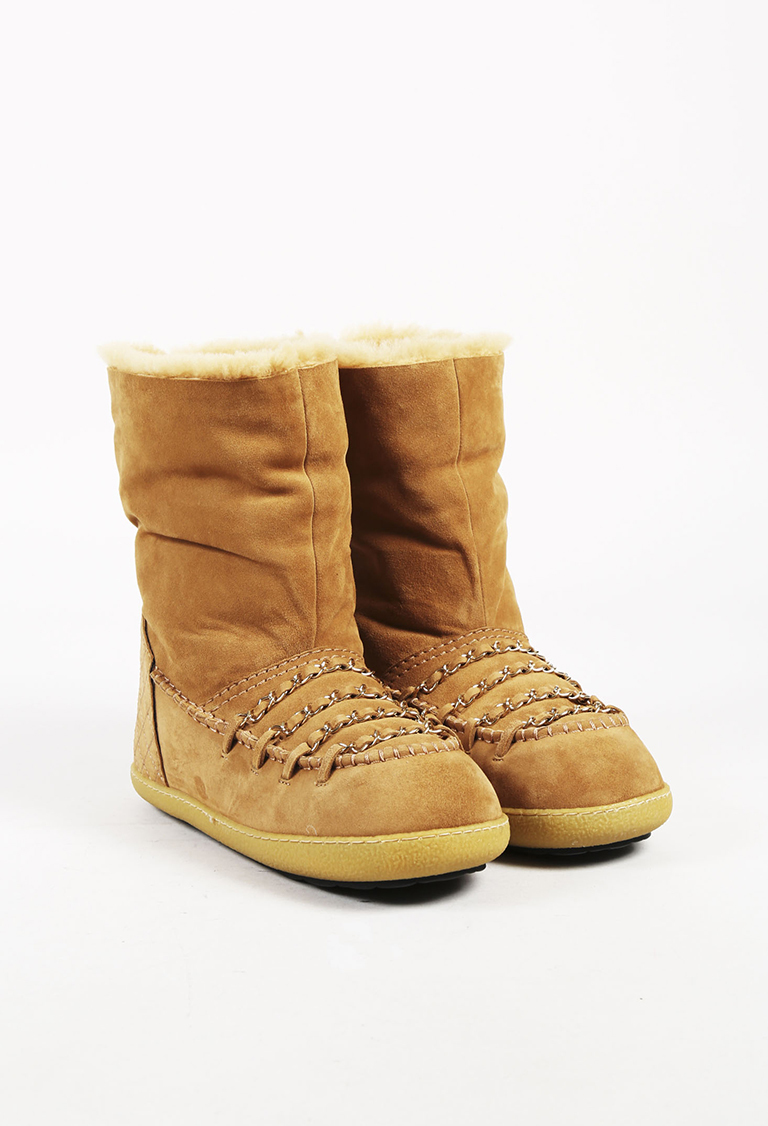 Brown Suede Shearling Lined Winter Boots