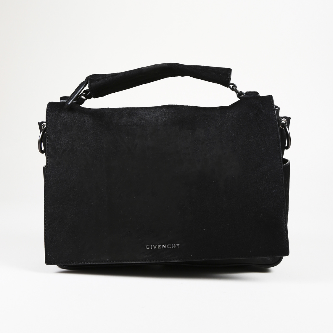 8eabc60535 Details about Givenchy Black Pony Hair   Leather Messenger Bag