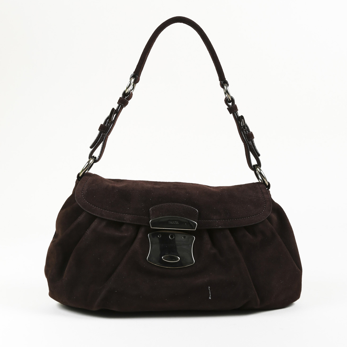 b17bce23dfc0 Details about Prada Dark Brown Suede Pleated Shoulder Bag