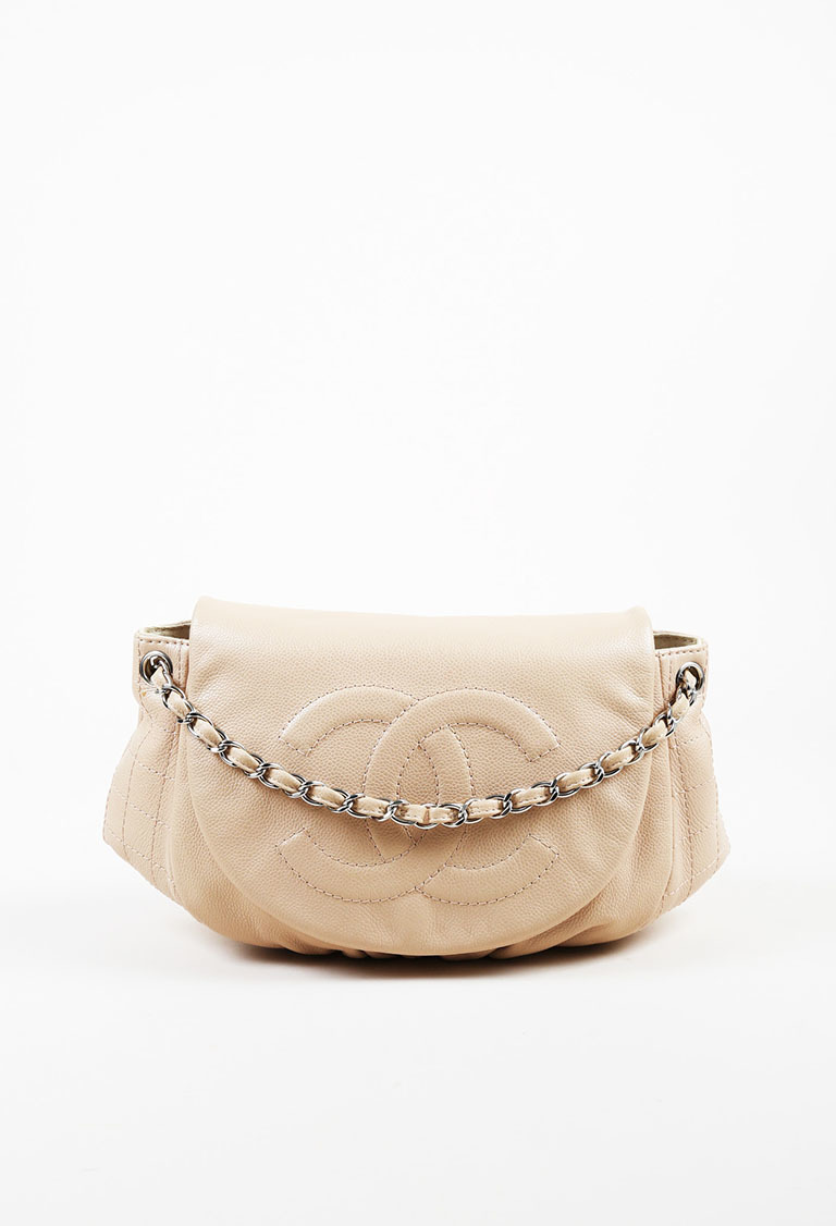 1c718626b57d Chanel. Beige Caviar Leather Quilted Large