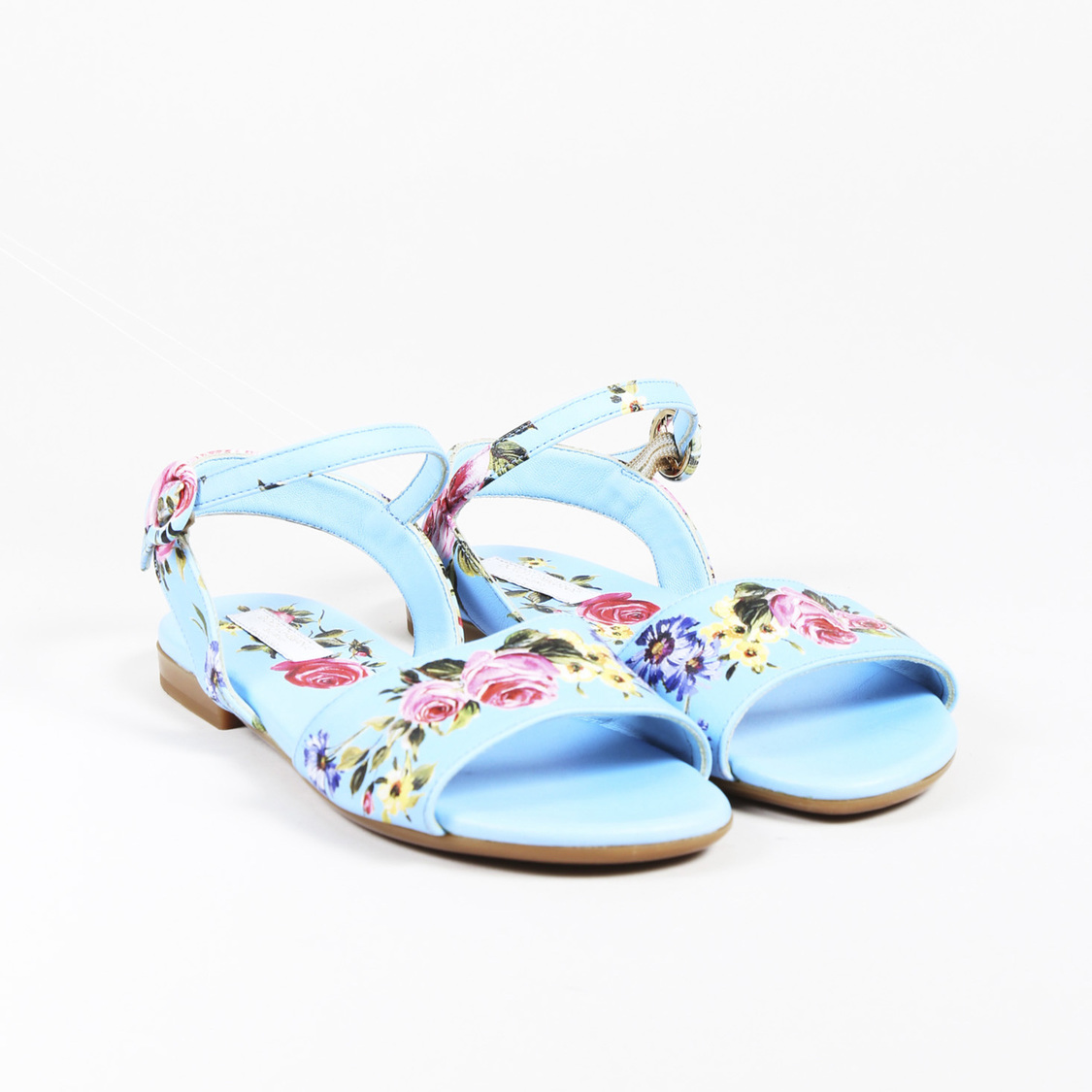 a62afe836d9cf9 Details about KIDS Dolce   Gabbana Blue Multicolor Leather Floral Ankle  Strap Sandals SZ 33