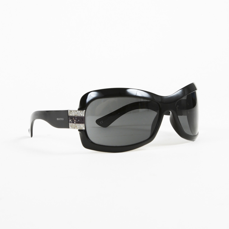5ce67df378d Details about Gucci Black GG Rhinestone Embellished Sunglasses