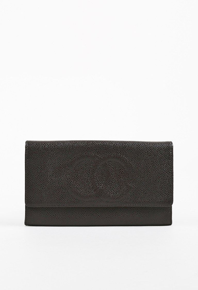 Brown Caviar Leather CC Flap Wallet