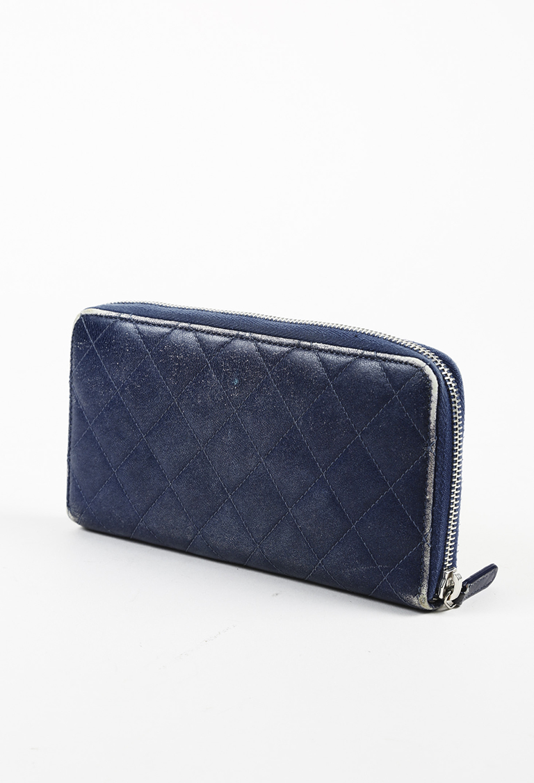 73d64f5aefbb Chanel Blue Beige Calfskin Leather Quilted Continental Wallet | eBay