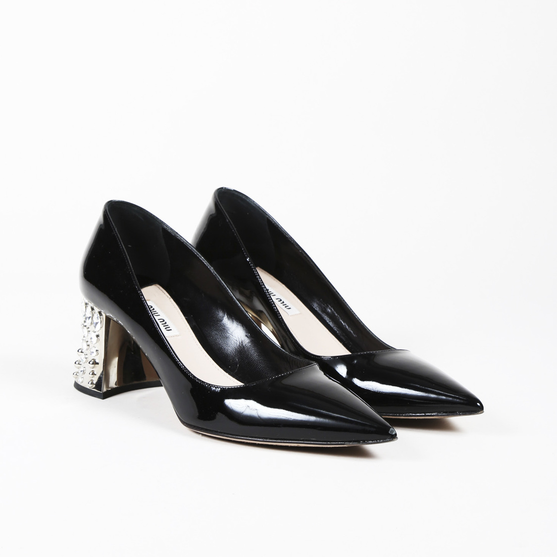 5631bffb8c9 Details about Miu Miu Black Patent Leather Embellished Heel Pointed Pumps  SZ 39