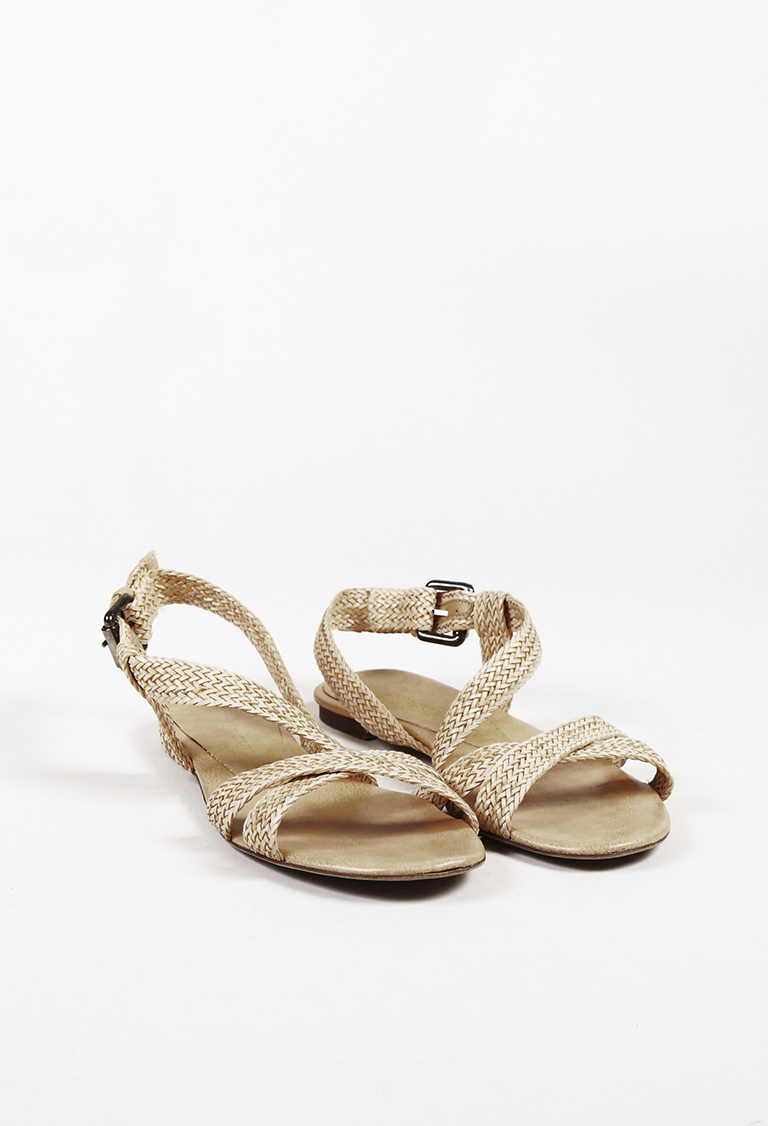 Beige Braided Faux Leather Sandals