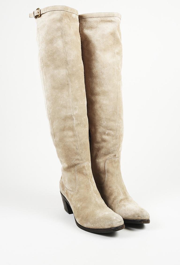 c97c3d8b763 Prada Beige Suede Over the Knee Boots