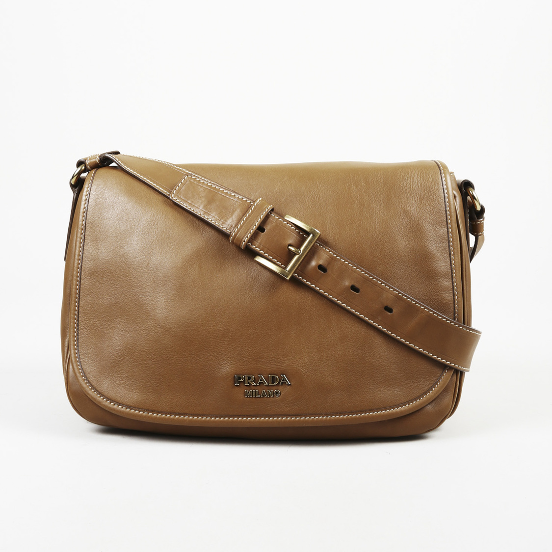 Details about Prada Brown Leather Crossbody Bag 6bd8855ae58d7