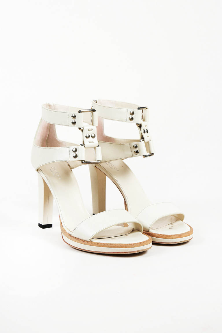 e297ff3ad Gucci Studded Leather Ankle Strap Sandals
