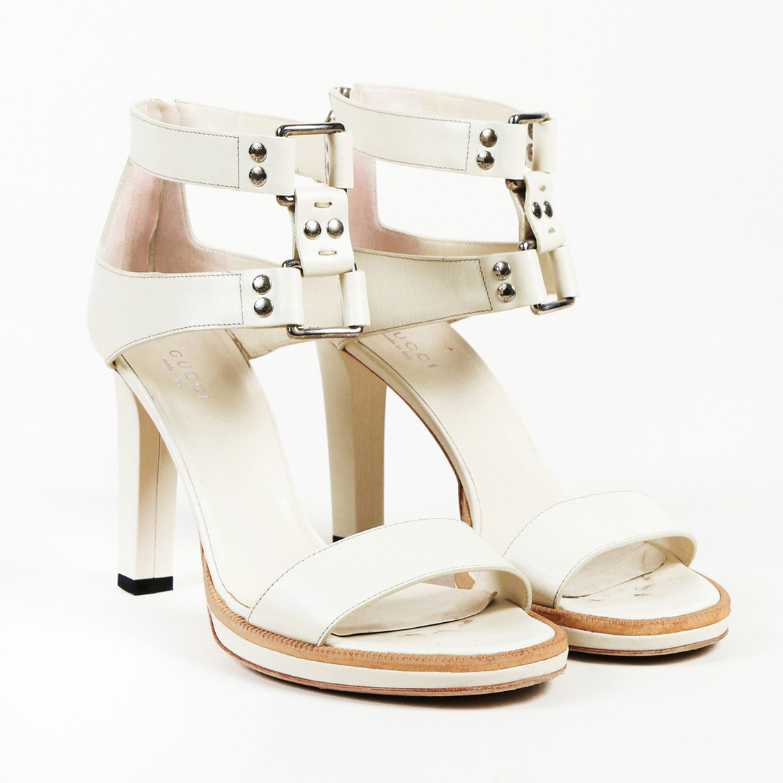 5c23fd32a2a Gucci Studded Leather Ankle Strap Sandals SZ 38.5