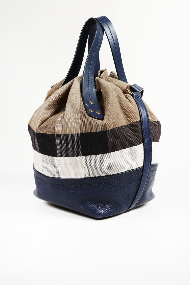 Burberry Blue Beige House Check Canvas Bucket Bag  ca3fd44466505