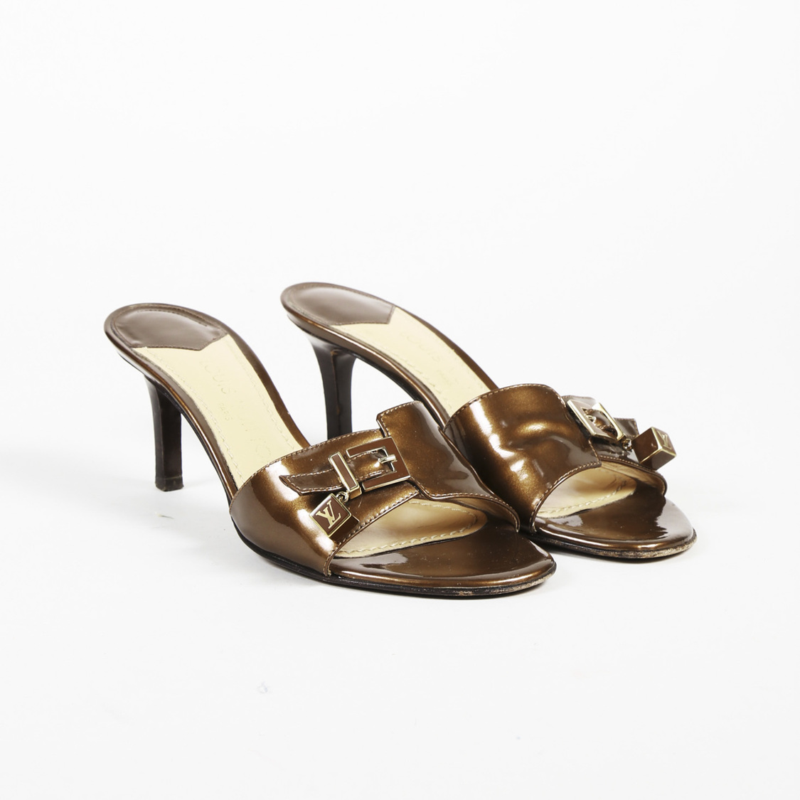 ab23599c9 Details about Louis Vuitton Brown Patent Leather Mule Sandals SZ 37.5