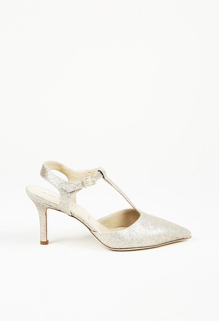 attractive price new images of get new Champagne Metallic Leather T-Strap Pumps