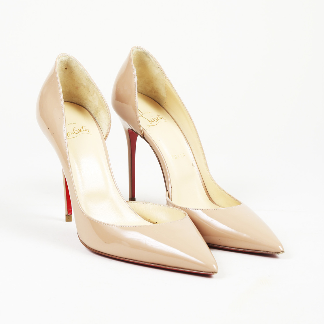 Details About Christian Louboutin Iriza 100 Patent Leather Half D Orsay Pumps Sz 38 5