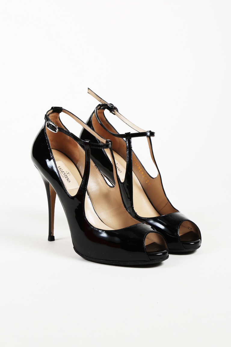 3bb2a029c93a Valentino Black Patent Leather Open Toe Pumps