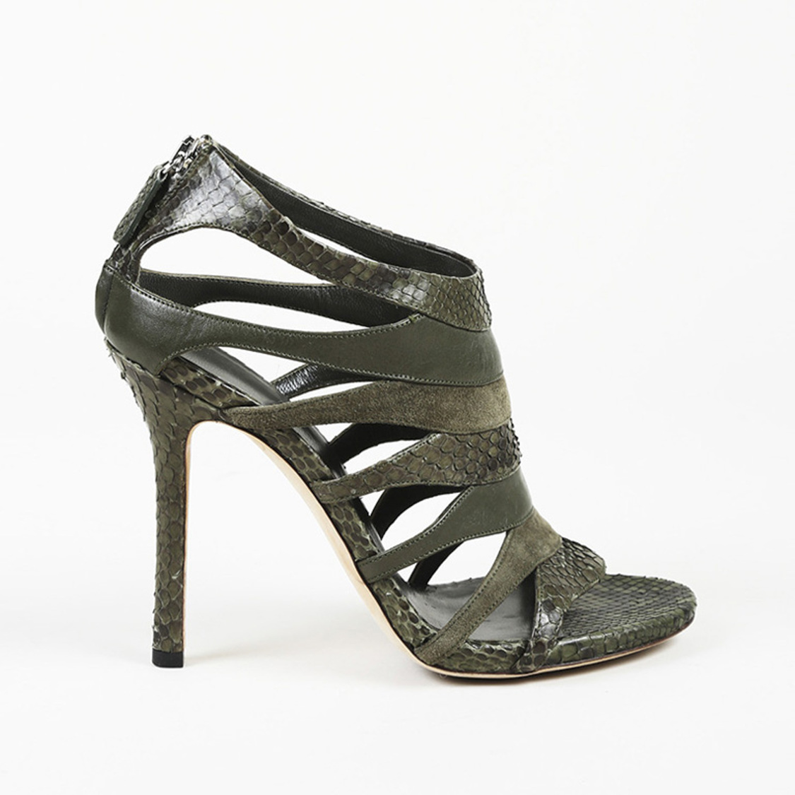c5afb13e6fc2 Details about Gucci Green Snakeskin Leather Cage Sandals SZ 36.5