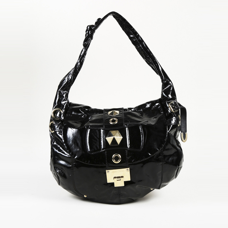6bb12719be08c Details about Jimmy Choo Black Patent Leather Hobo Bag