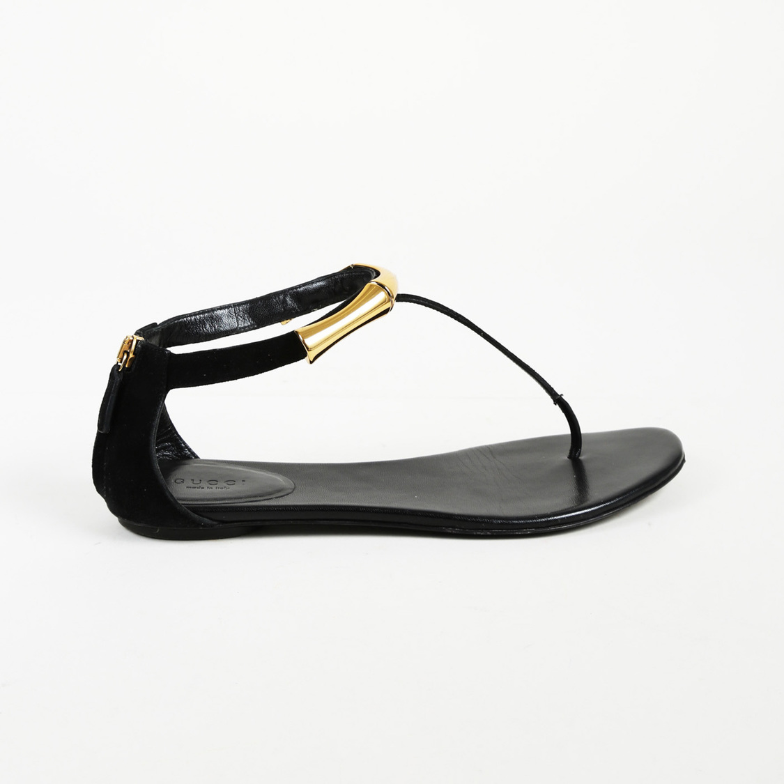 9c448ae9eead Details about Gucci Suede Bamboo Thong Sandals SZ 38