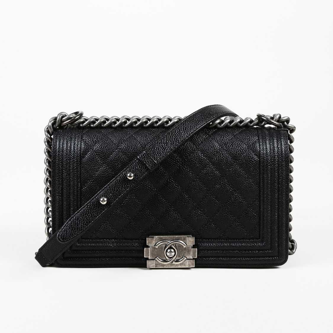 2ab927471e5b Details about Chanel Old Medium Boy Quilted Caviar Leather Crossbody Bag
