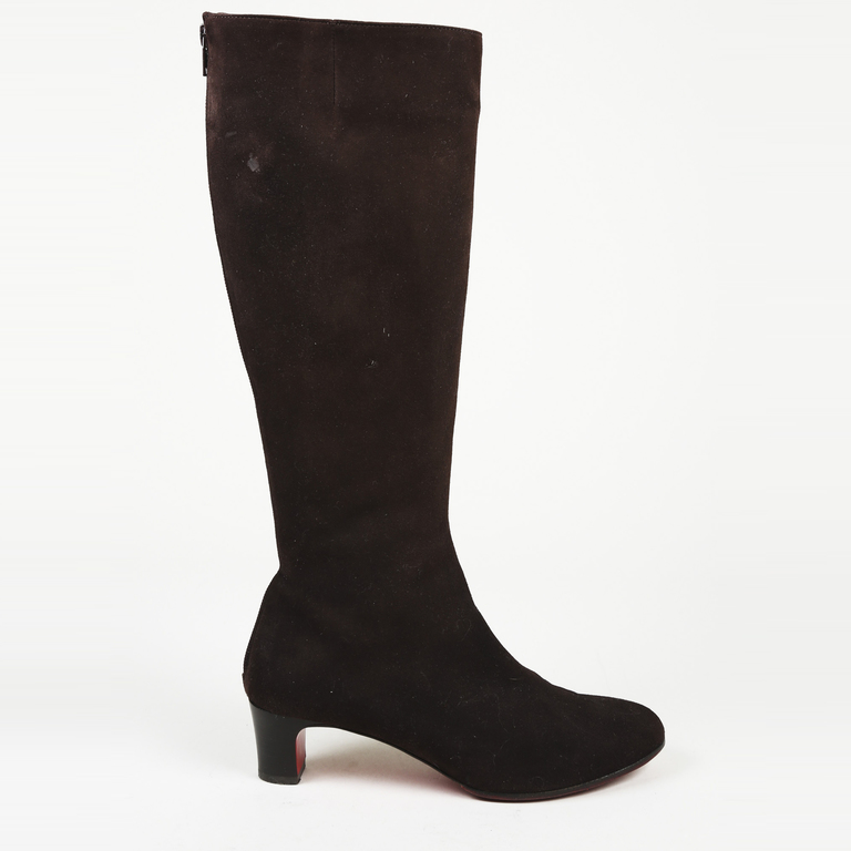 newest f5662 f5718 Details about Christian Louboutin Suede Knee High Boots SZ 38.5