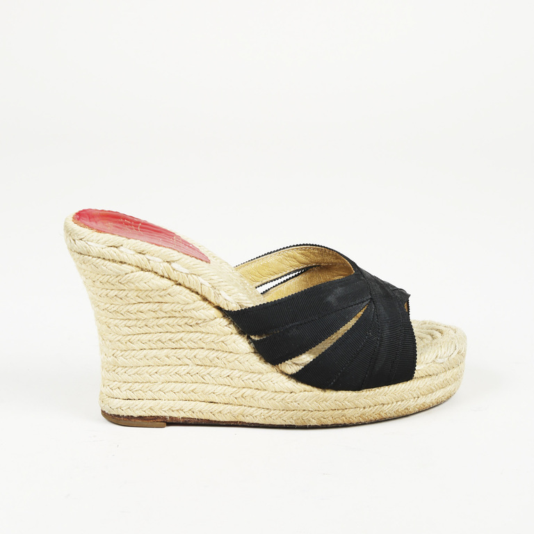 huge discount 5aa97 411da Details about Christian Louboutin Cataribbon Espadrille Wedge Sandals SZ 37