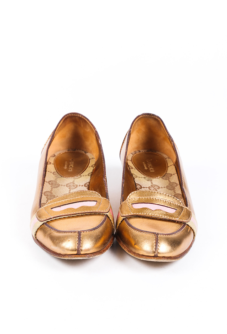 Gucci Gold Leather Penny Loafers SZ 7.5 | eBay