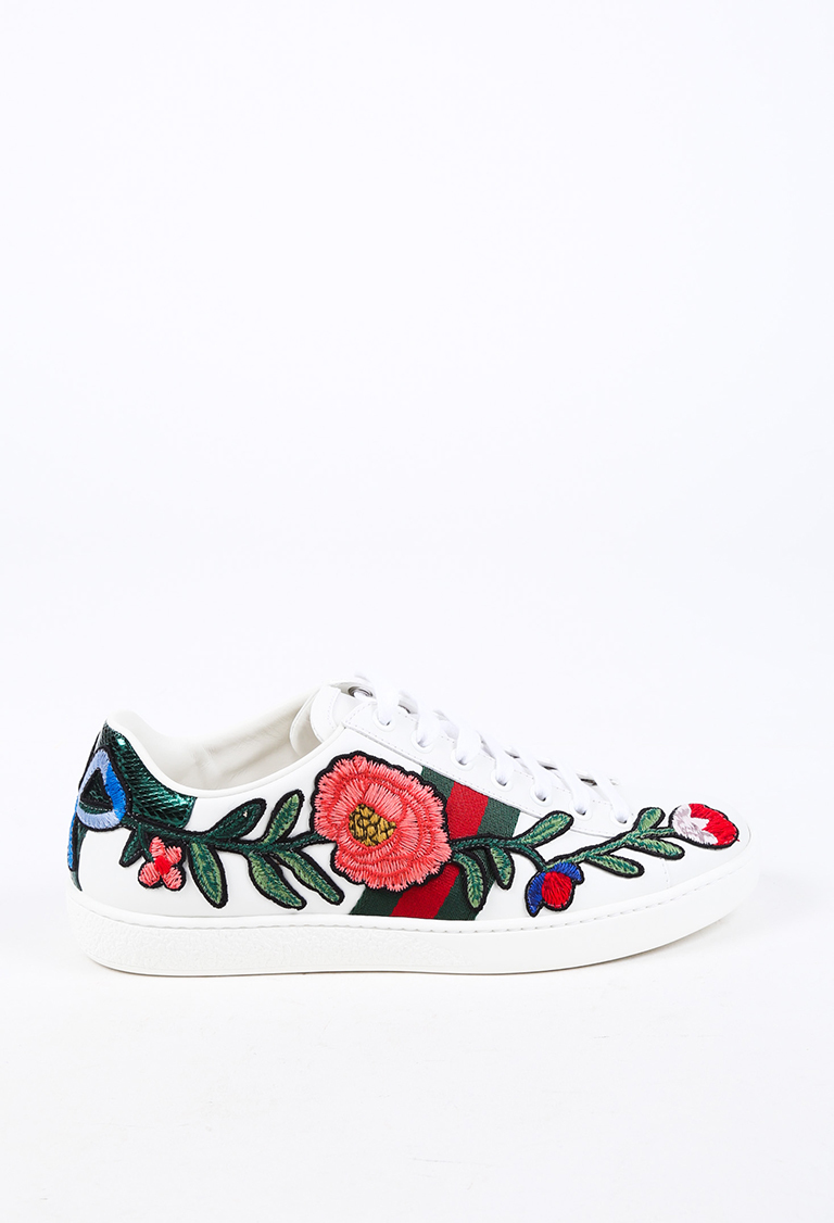 Gucci Ace Floral Embroidered Web Low