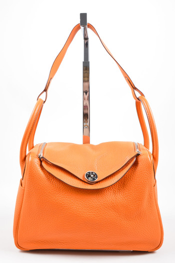 efdde5d935aa Hermes Fire Orange Taurillon Clemence Calfskin Leather 30cm