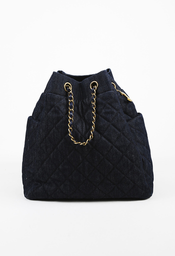 720c3eae94b Chanel Blue Washed Denim   Leather Quilted Bucket Bag   Luxury ...