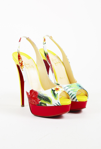 Floral Patent Leather Lady Peep Sling Pumps