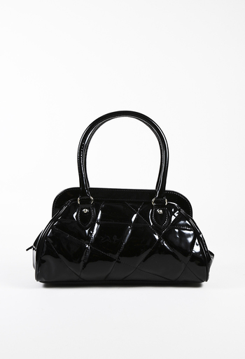 56c6ae80d4 Black Quilted Patent Leather Tote