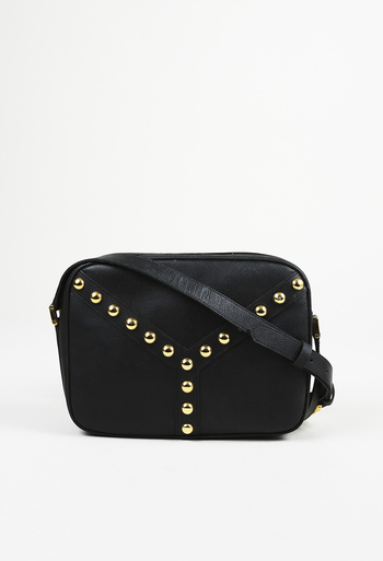 6f2fbd5cf38a Yves Saint Laurent Vintage Black Leather Studded Crossbody Bag ...