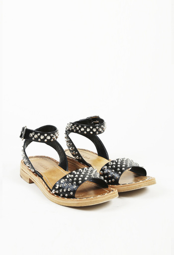 Studded Vernice Leather Sandals