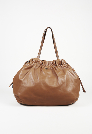 f0790b629e Prada Soft Calf Leather Drawstring Shoulder Bag
