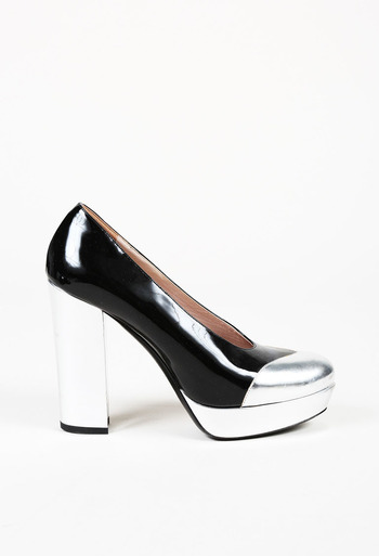 e80716ad702 Leather Platform Block Heel Pumps
