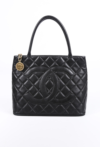 712061fb577 Medallion Quilted Caviar CC Tote