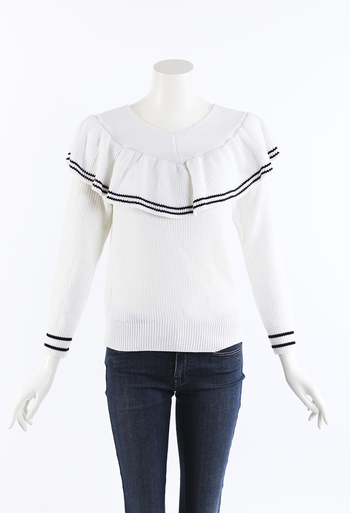 ff911082095d60 Wool Cotton Knit Striped Off Shoulder Sweater
