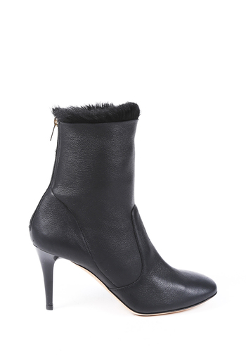 076fbac531aa Leather Fur Ankle Boots