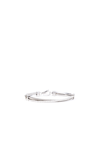Cable Crossover White Gold Diamond Bracelet