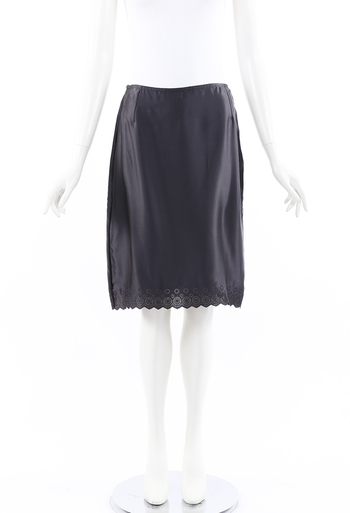 Gianni Couture Embroidered Silk Knee Length Skirt