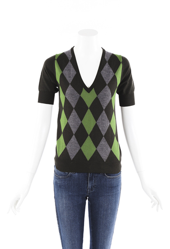 Argyle Wool Knit Sweater